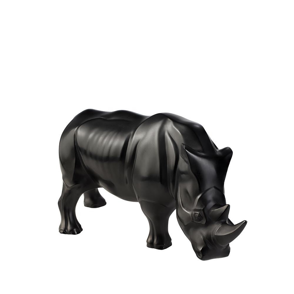 Rhinoceros sculpture | Black crystal | Sculpture Lalique