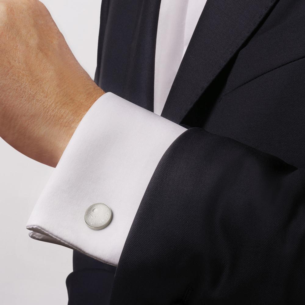 Toupie cufflinks | Clear crystal, palladium finishing | Costume jewellery Lalique