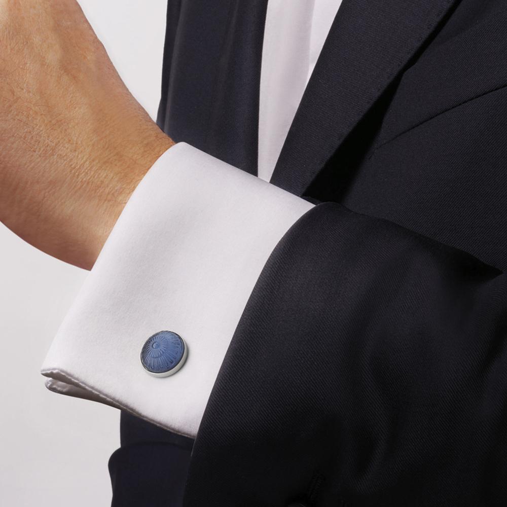 Toupie cufflinks | Sapphire blue crystal, palladium finishing | Costume jewellery Lalique