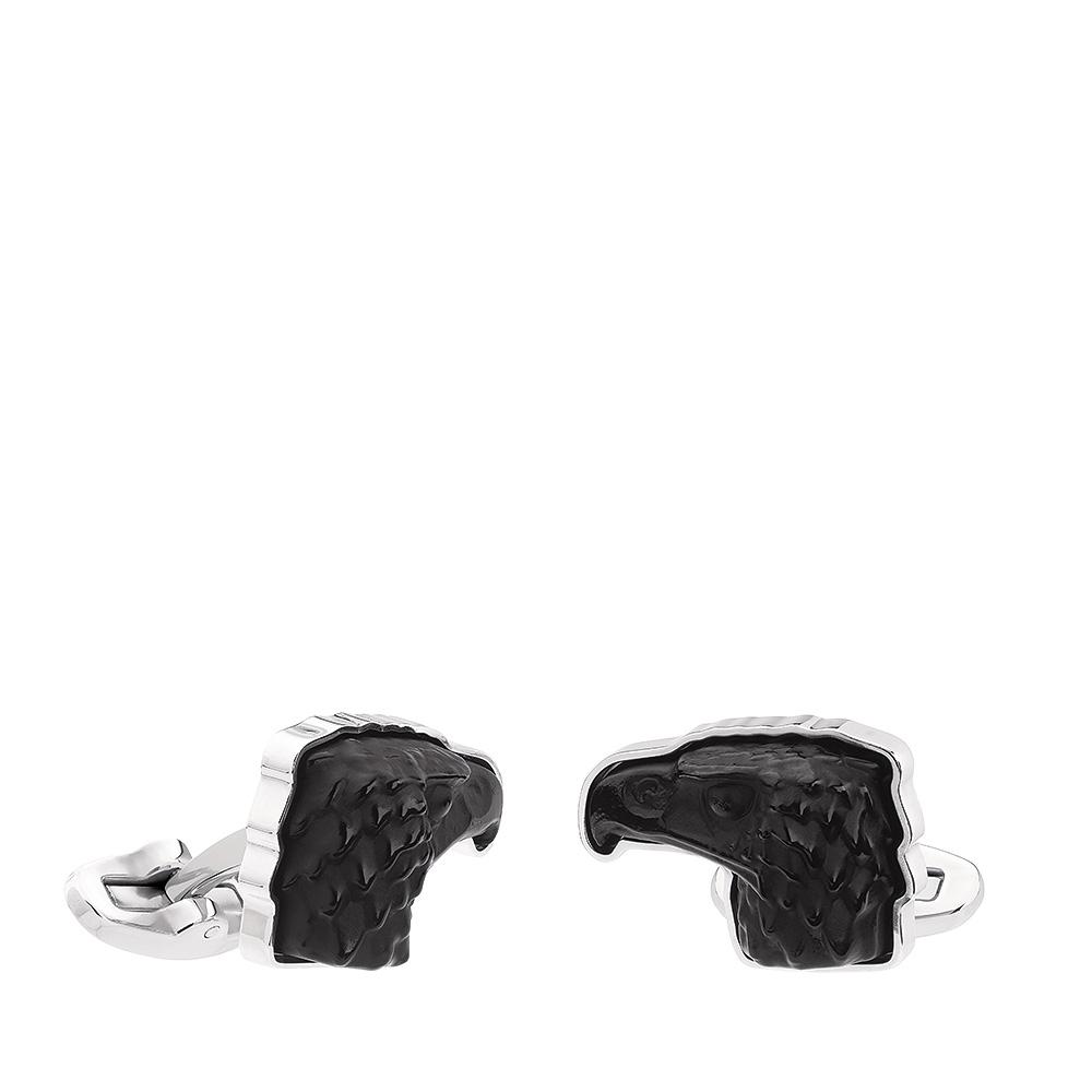 Eagle mascottes cufflinks | Black crystal, palladium finishing | Costume jewellery Lalique