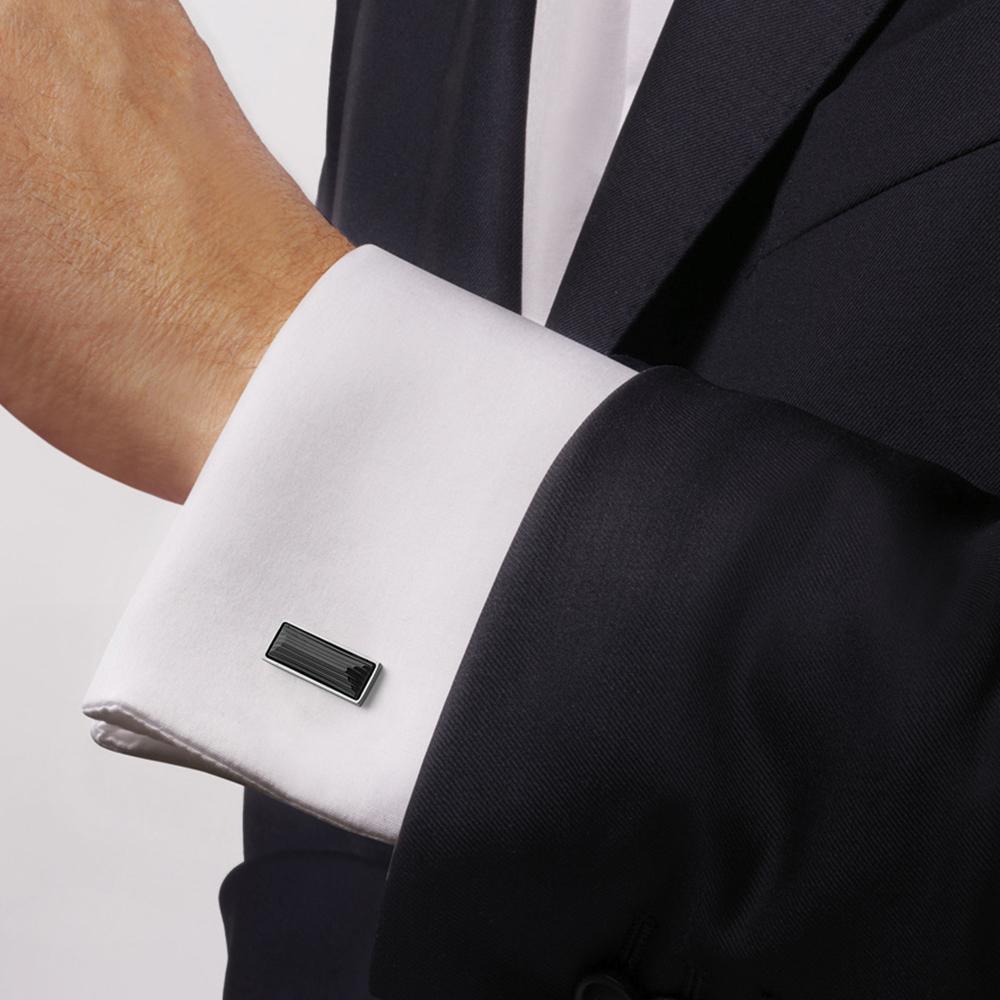 Rayonnante cufflinks | Black crystal, palladium finishing | Costume jewellery Lalique