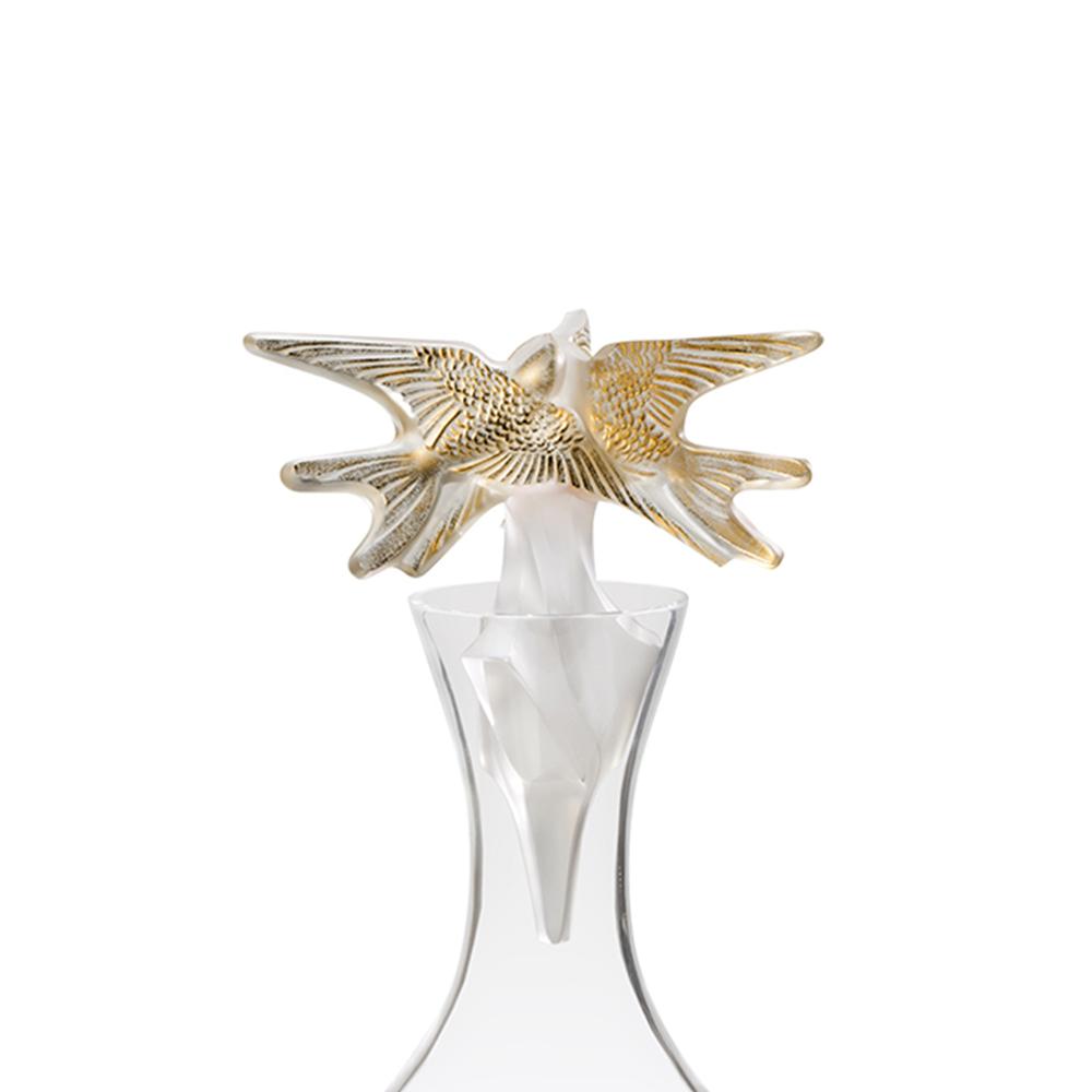 Hirondelles vintage decanter | Vintage 2018, clear crystal and gold stamped | Vintage carafe, decanter Lalique