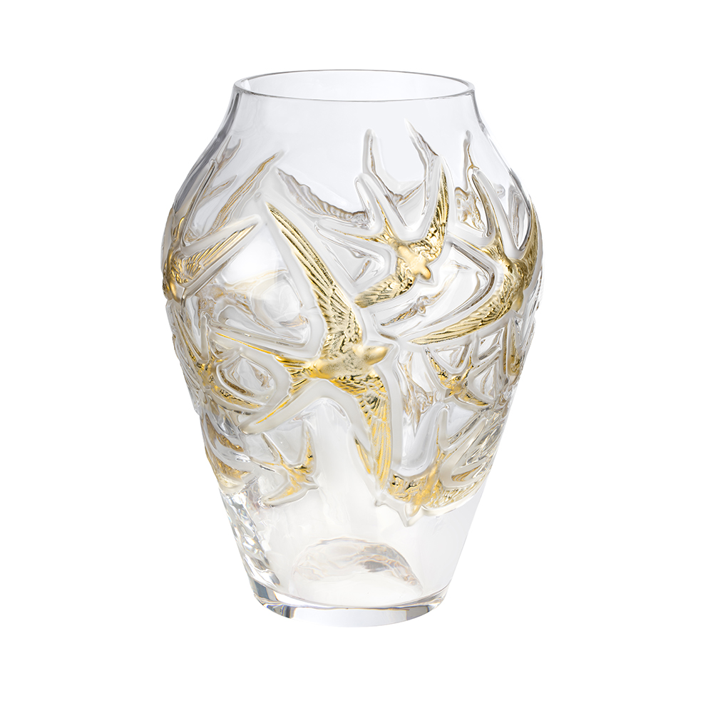 Hirondelles grand vase | Limited edition (130 pieces), clear crystal and gold stamped | Vase Lalique