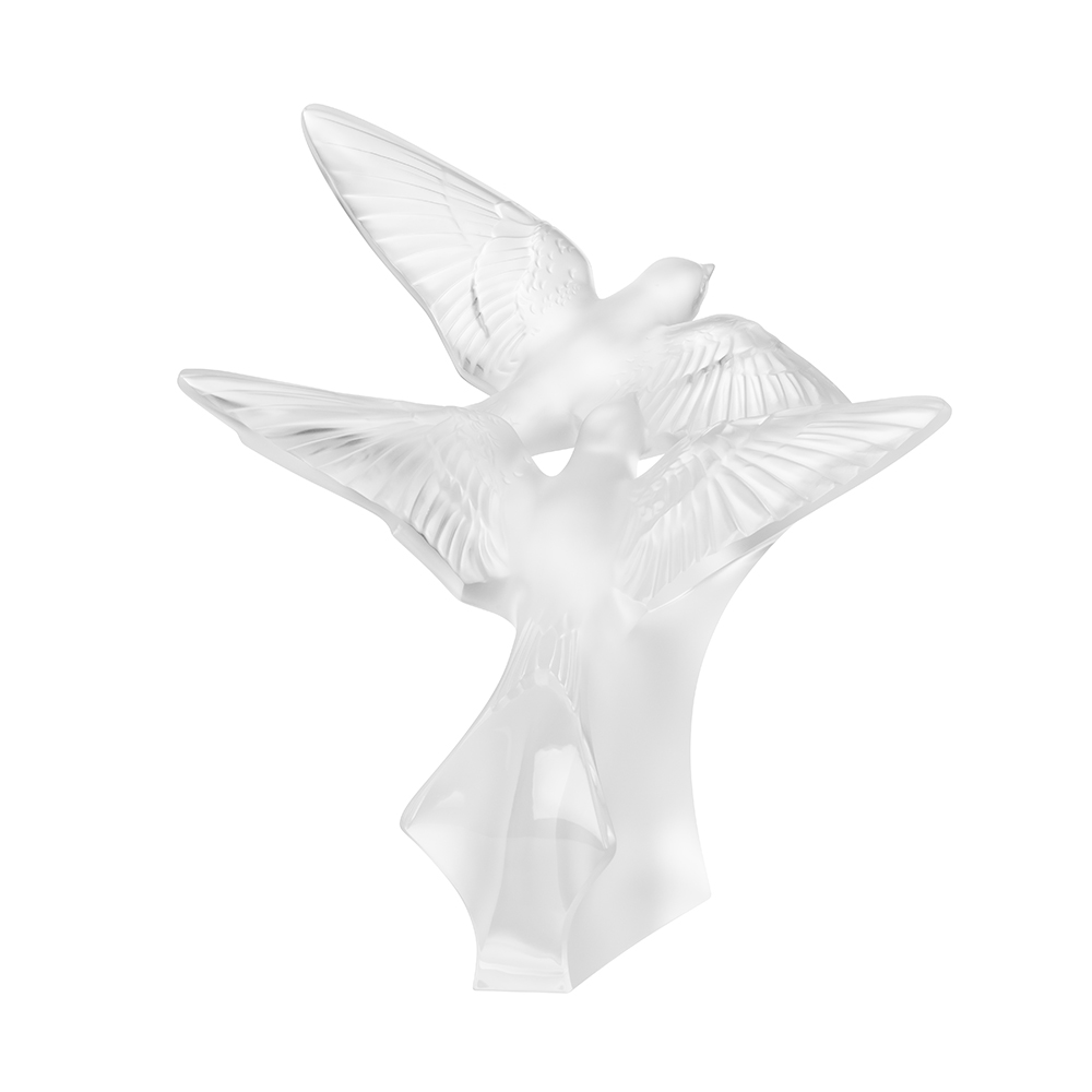 Two swallows grand sculpture | Clear crystal | Sculpture Lalique