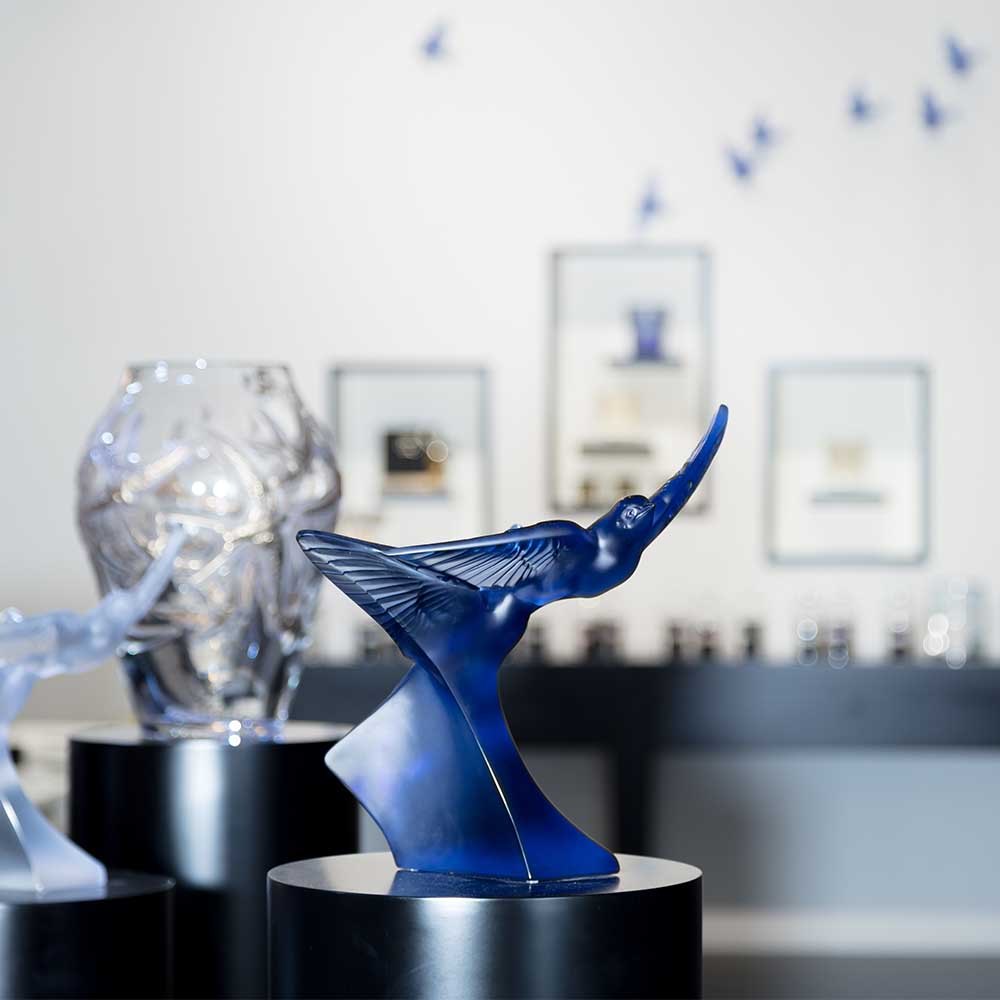Two swallows grand sculpture | Blue sapphire crystal | Sculpture Lalique
