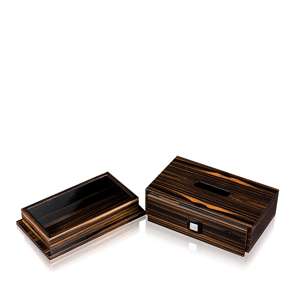 Raisins tissue box | Numbered edition, natural ebony with clear crystal | Box Lalique
