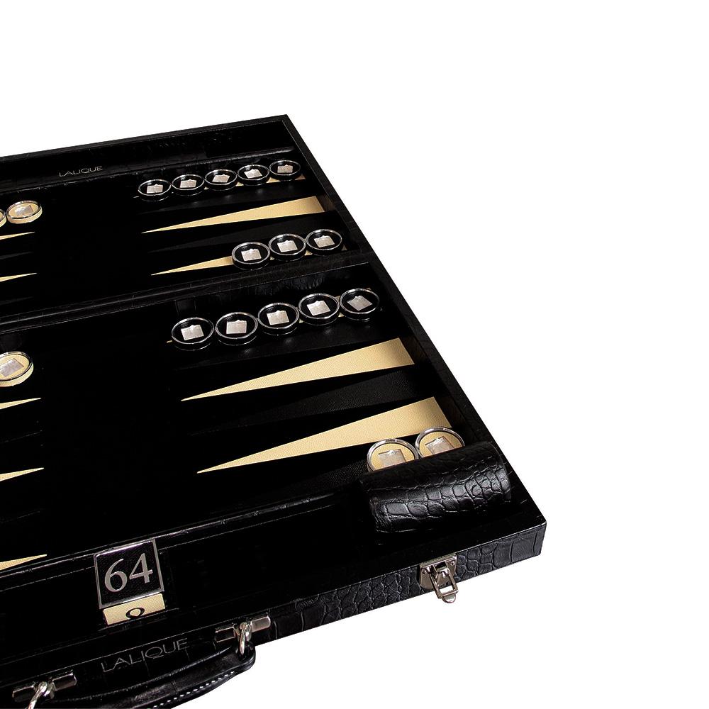 Masque de Femme backgammon | Leather printed black croco | Game Lalique