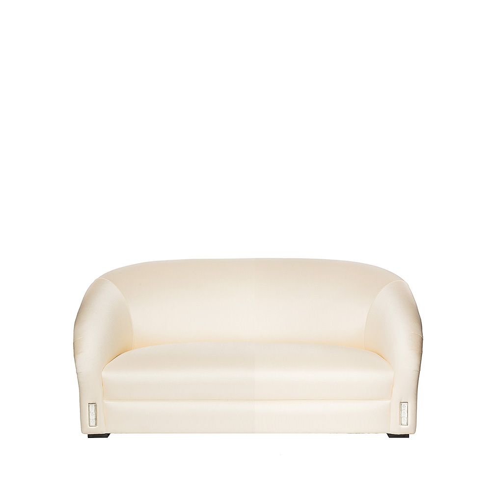 Raisins classic sofa | Numbered edition, clear crystal and ivory silk, small size | Sofa Lalique