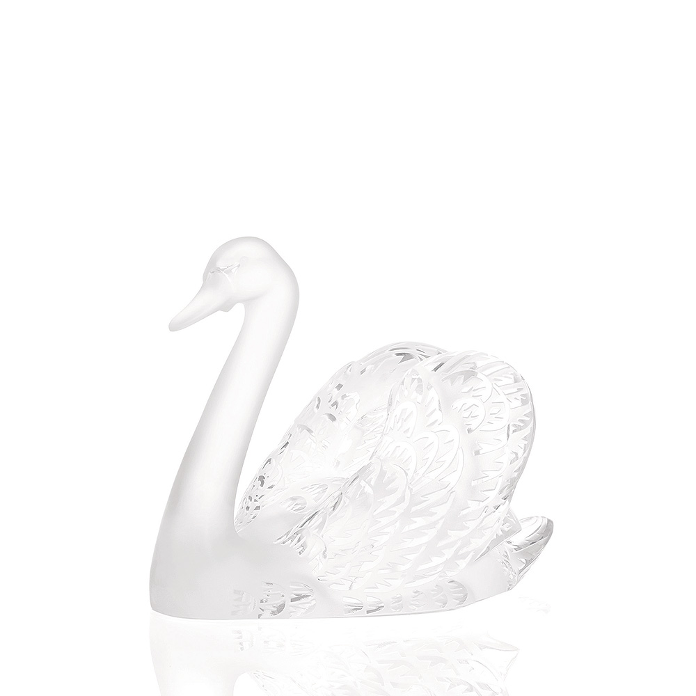 Swan head up sculpture | Clear crystal | Sculpture Lalique