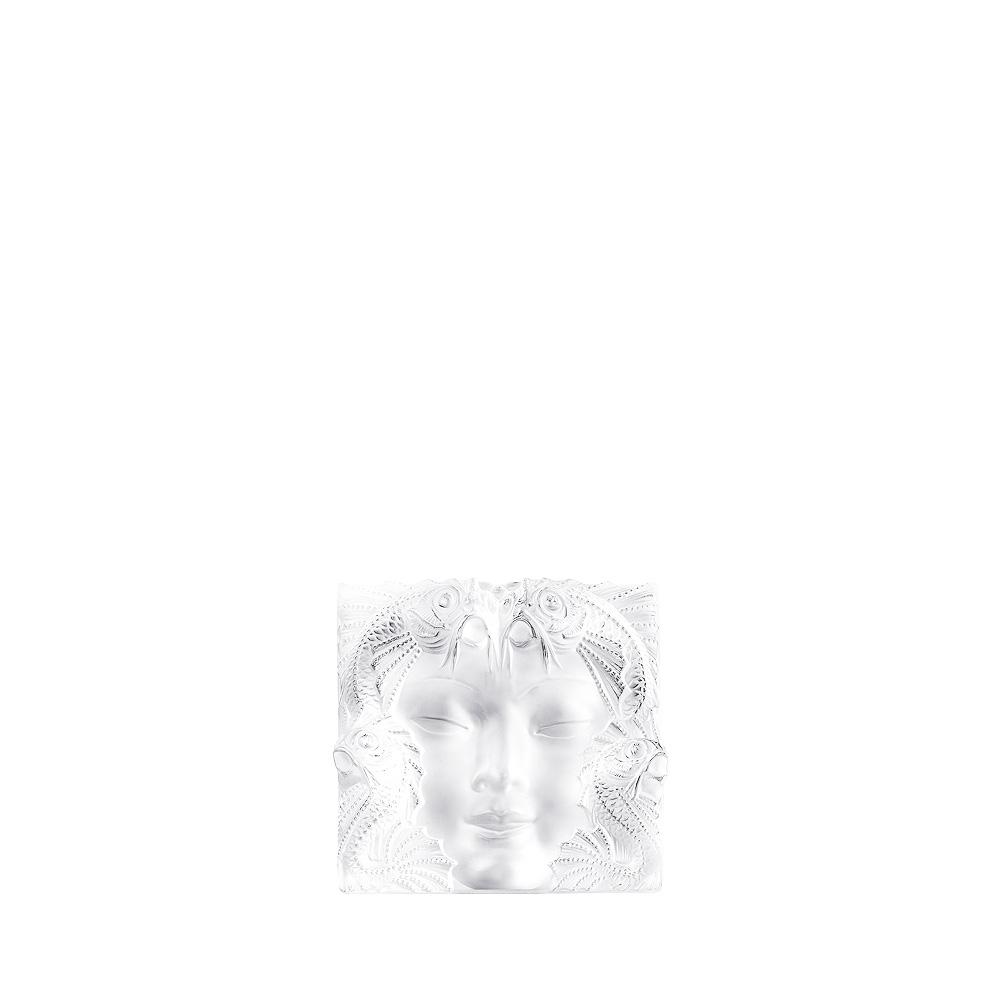 Masque de Femme decorative panel | Clear crystal, framed, large size | Interior Design Lalique