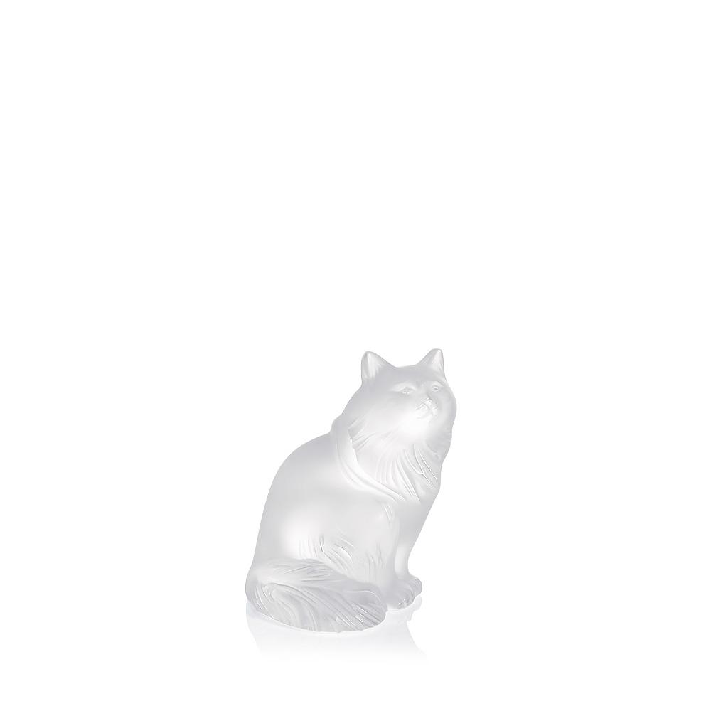 Heggie Cat sculpture | Clear crystal | Sculpture Lalique