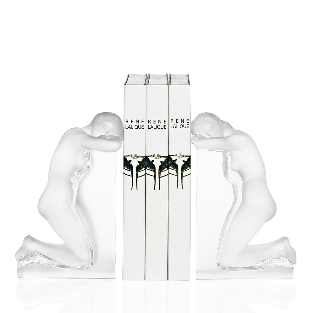 Rêverie book-ends | Set of 2 pieces, clear crystal | Bookend Lalique