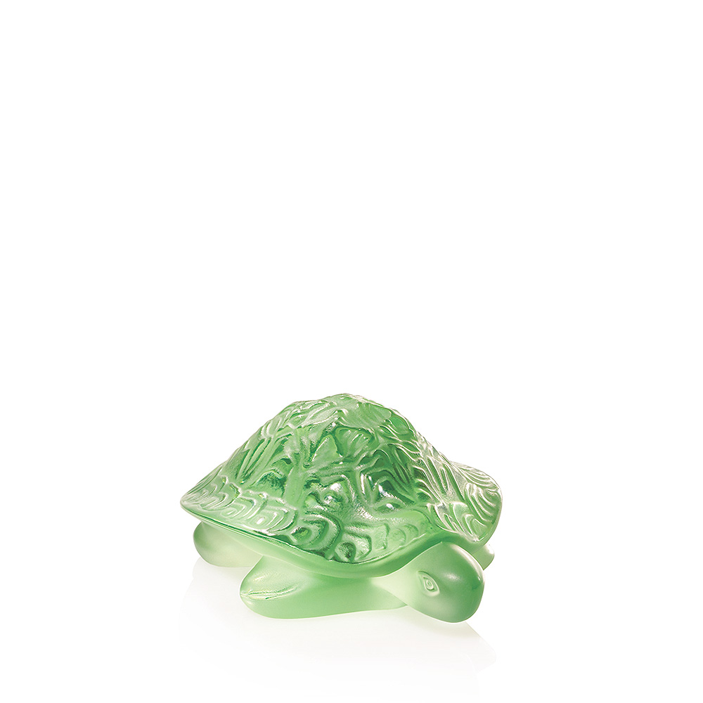 Sidonie Turtle sculpture | Green crystal | Sculpture Lalique