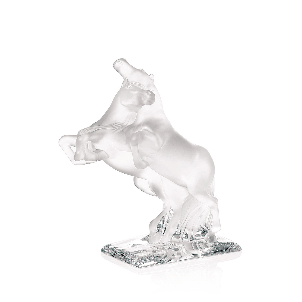 2 Wild Horses sculpture   Numbered edition, clear crystal   Sculpture Lalique