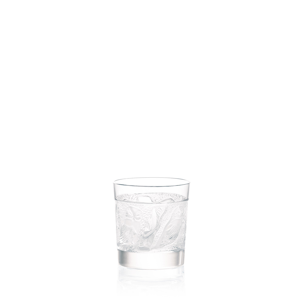 Owl Old Fashion tumbler | Owl collection, clear crystal | Glass Lalique