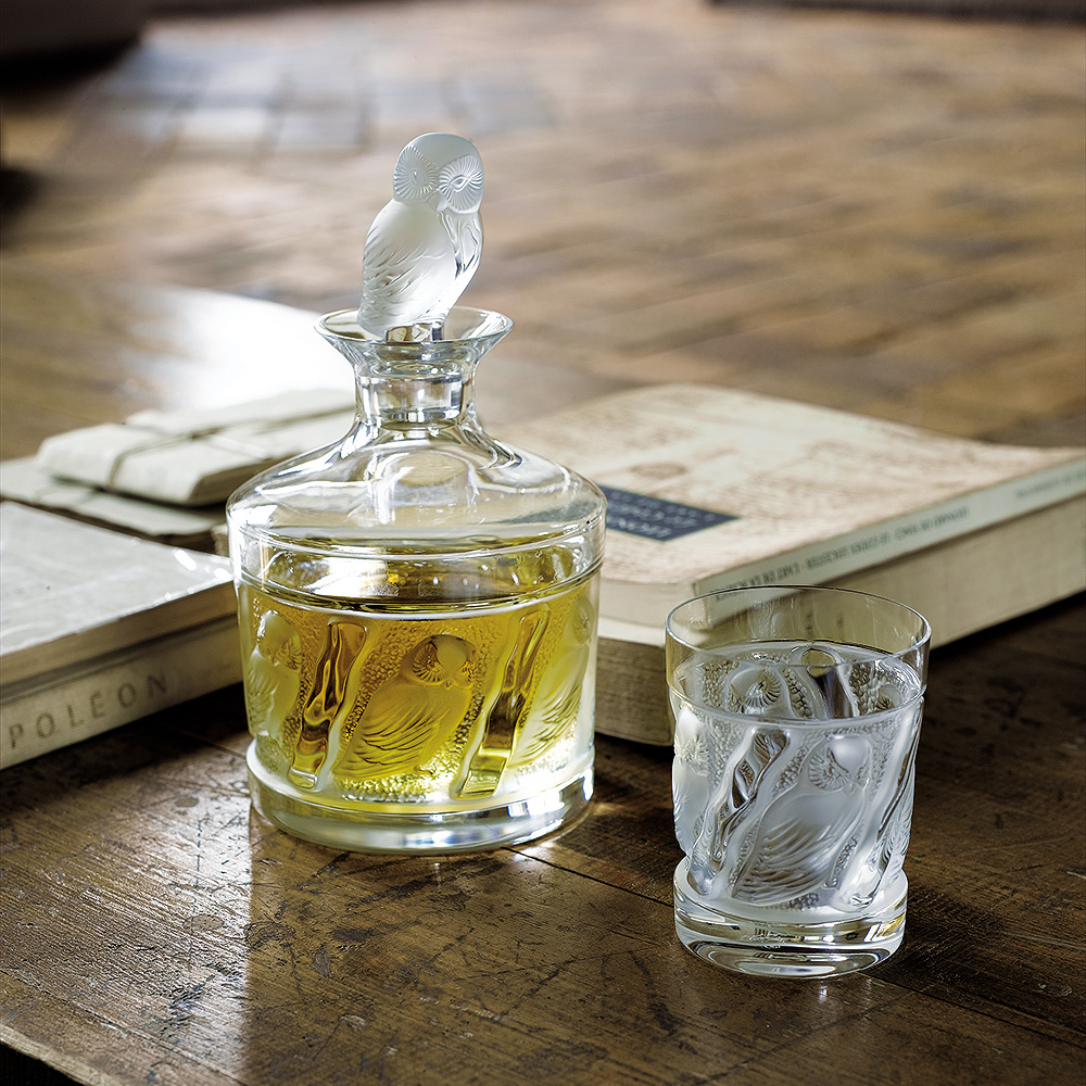 Set of 2 Owl Whisky tumblers   Owl collection, clear crystal   Glass Lalique