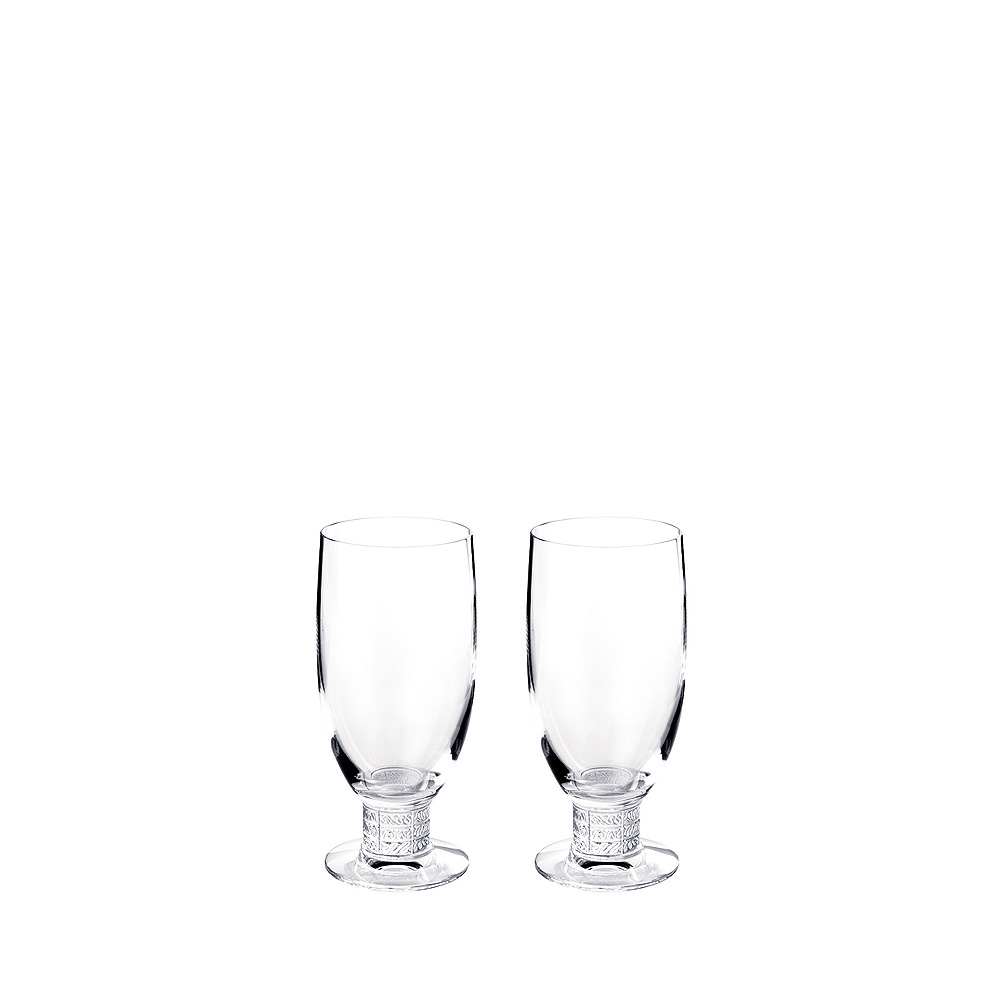 Set of 2 Louvre beer glasses | Louvre collection, clear crystal | Glass Lalique