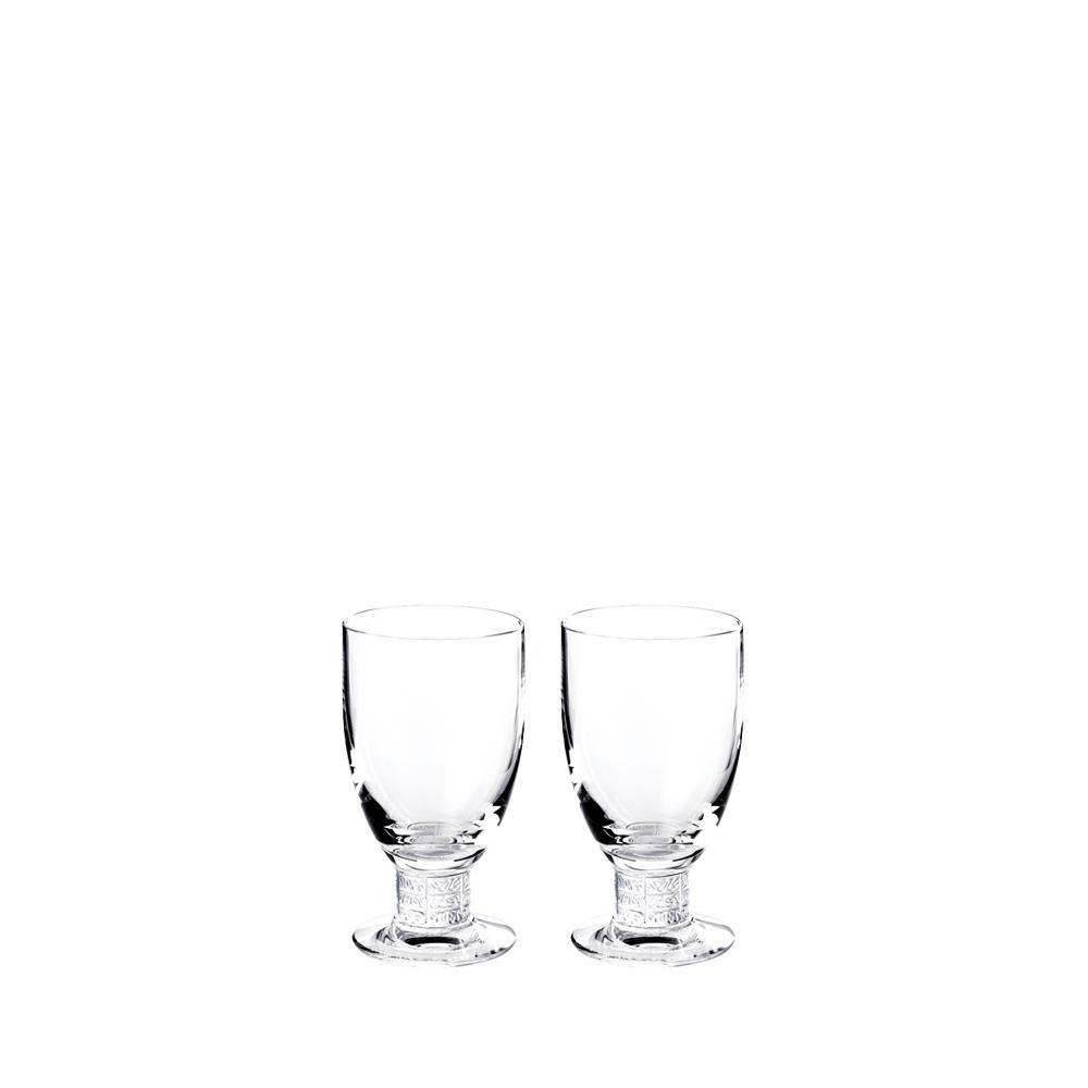 Set of 2 Louvre Bordeaux glasses   Louvre collection, clear crystal   Glass Lalique