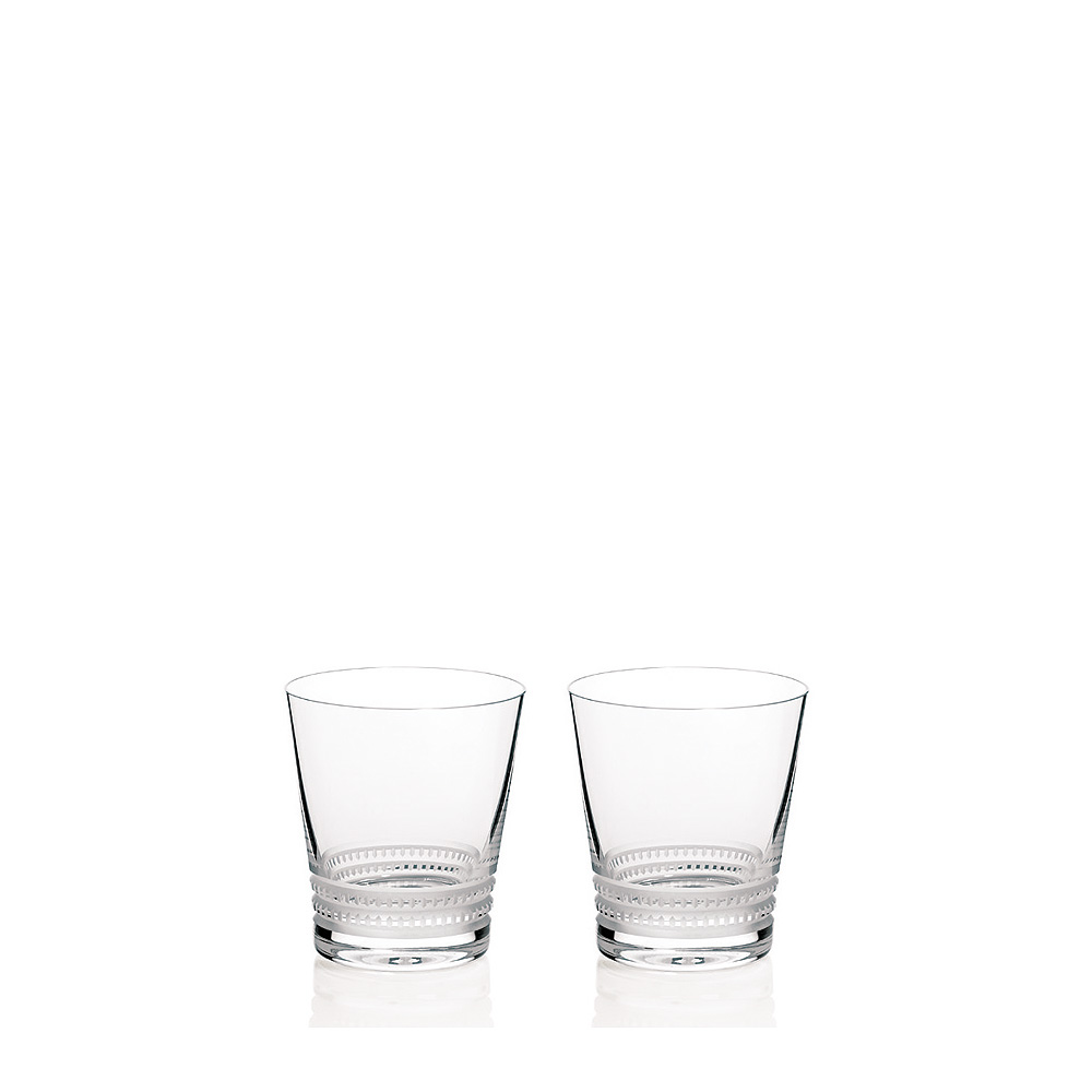 Set of 2 Facet tumblers N°1 | Facet collection, clear crystal | Glass Lalique