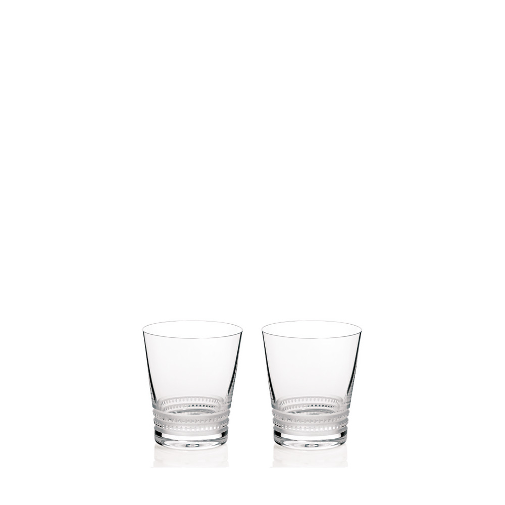 Set of 2 Facet tumblers N°2 | Facet collection, clear crystal | Glass Lalique