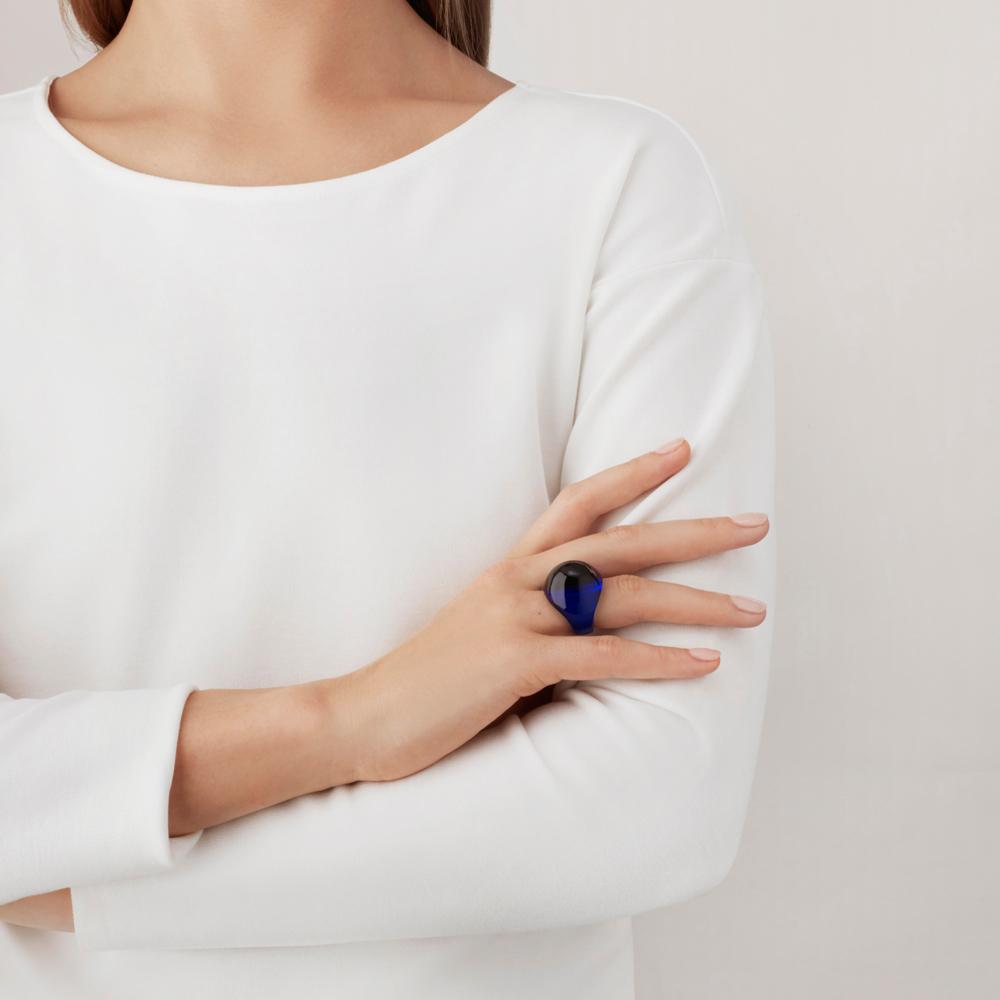 Cabochon ring | Cap-Ferrat blue crystal | Costume jewellery Lalique