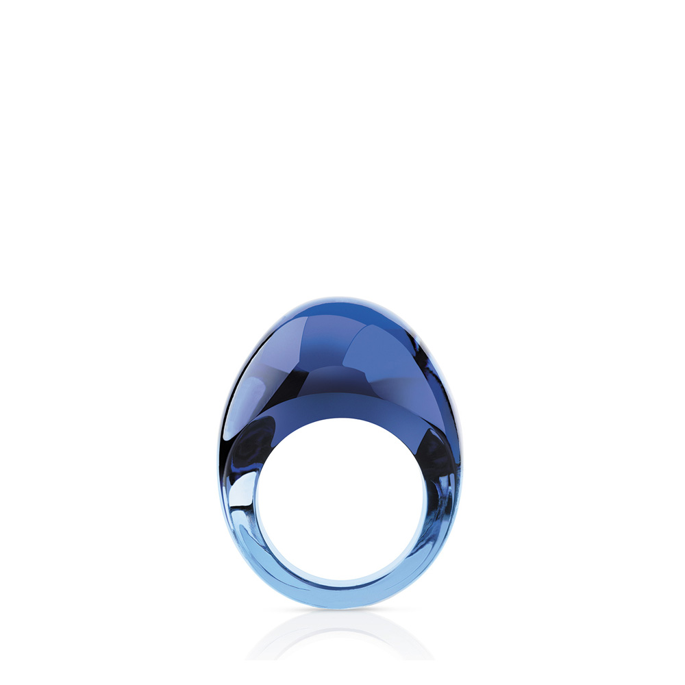 Cabochon ring | Sapphire blue crystal | Costume jewellery Lalique