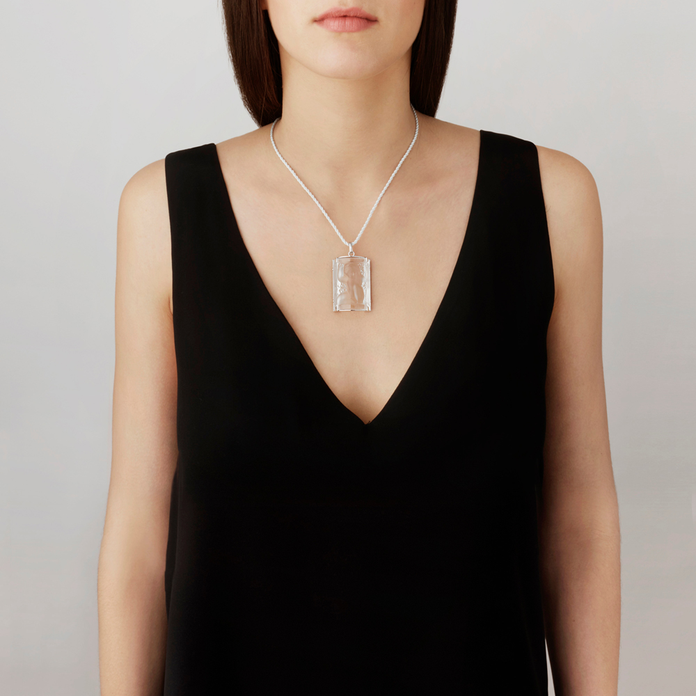 Nysa pendant | Clear crystal, silver | Costume jewellery Lalique