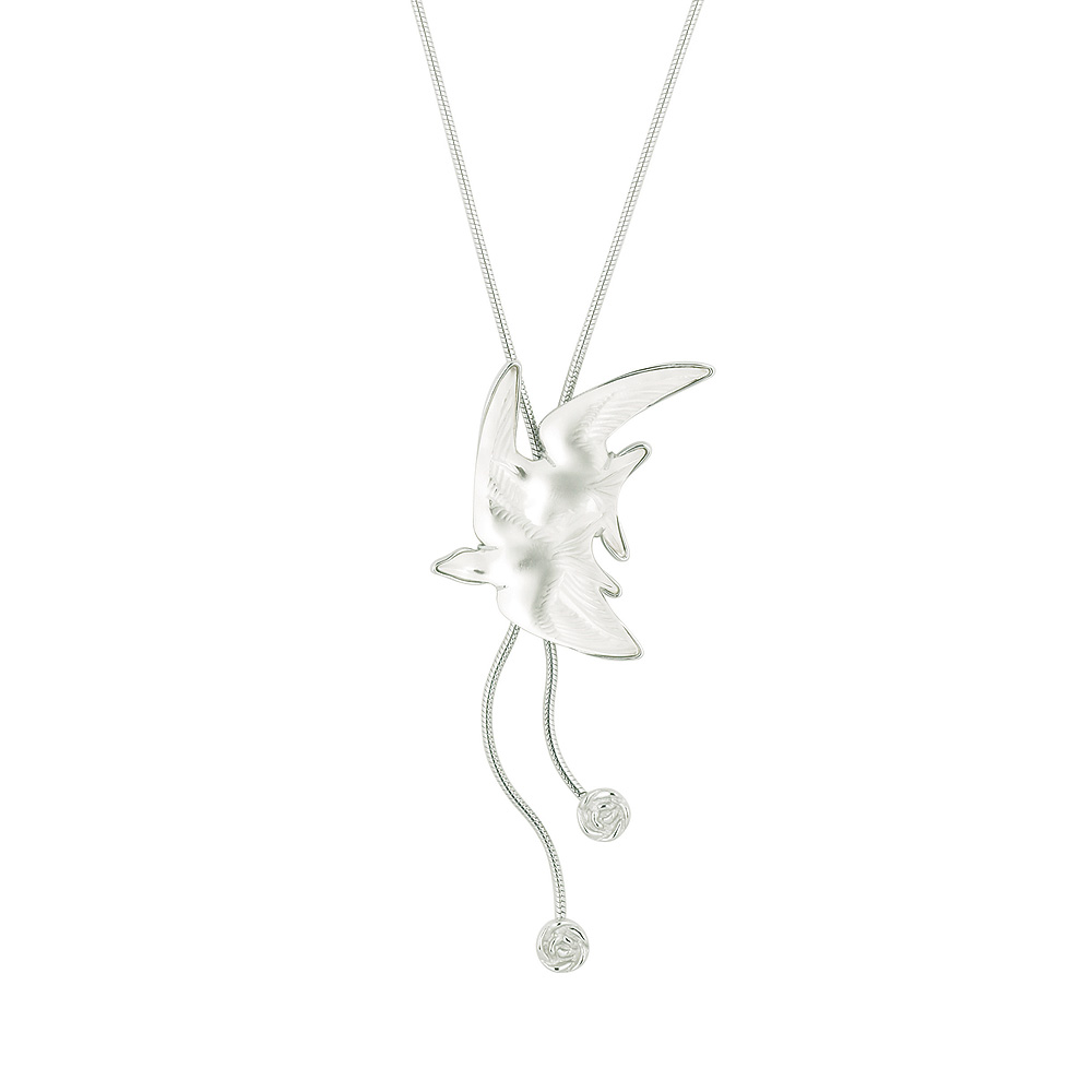Hirondelles necklace | Clear crystal, silver | Costume jewellery Lalique
