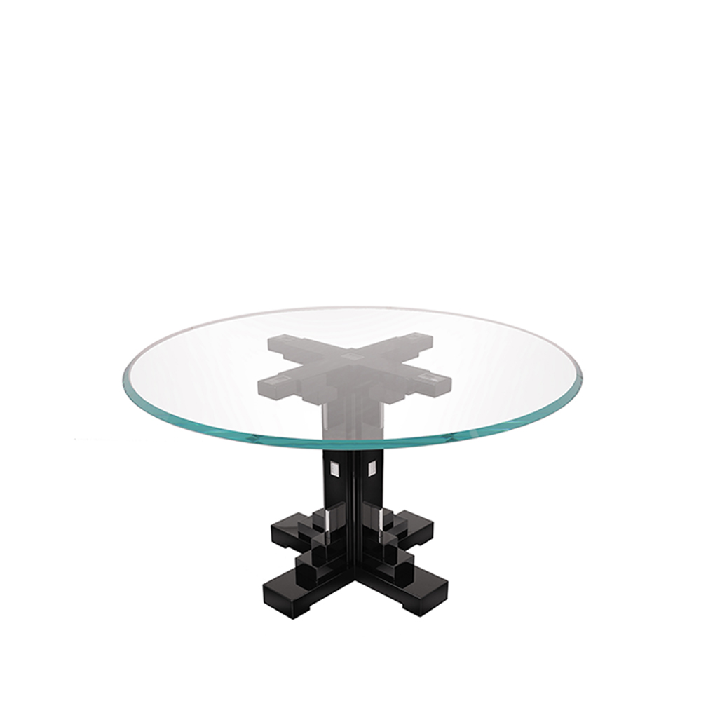 Raisins round table | Numbered edition, clear crystal and black lacquered | Table Lalique