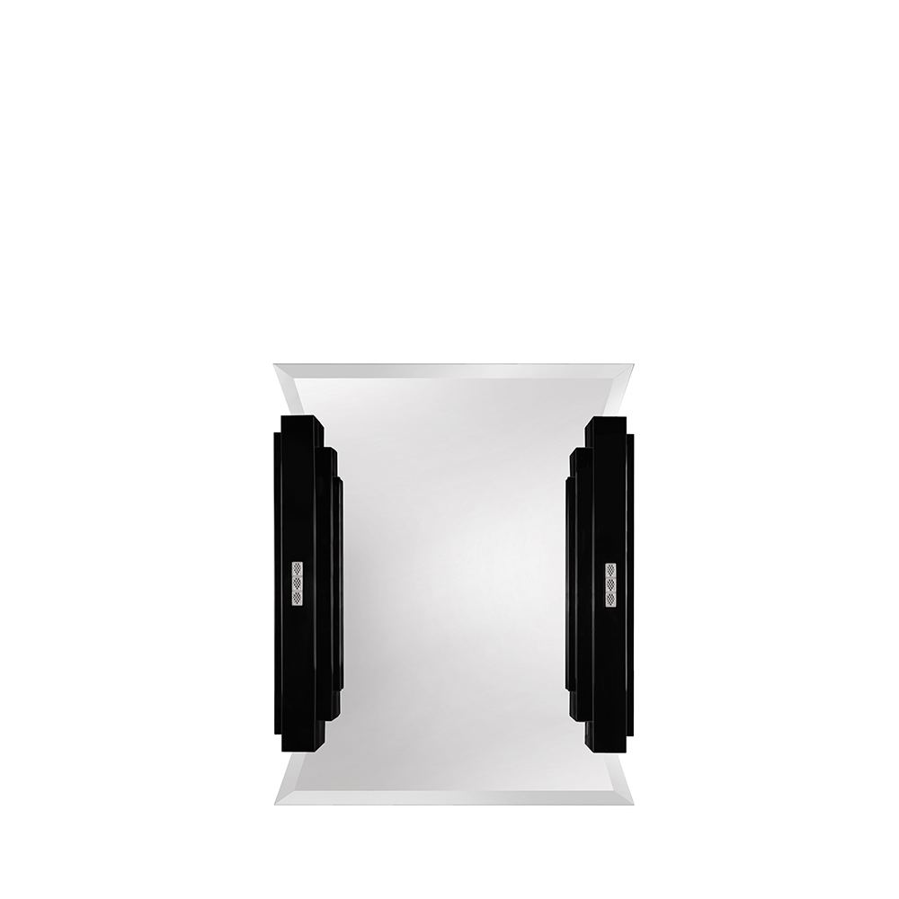 Raisins curved make-up mirror | Numbered edition, clear crystal and black lacquered | Mirror Lalique