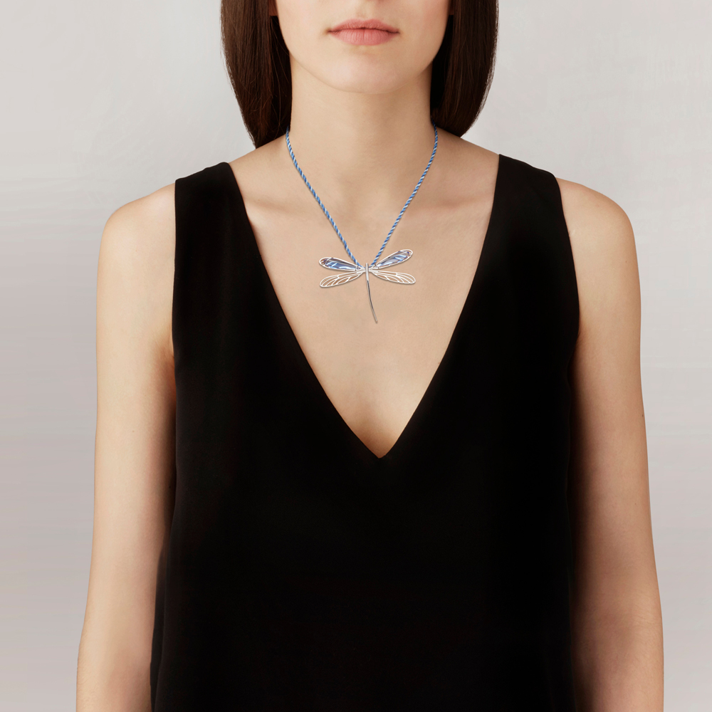 Libellule pendant | Sapphire blue crystal, silver | Costume jewellery Lalique