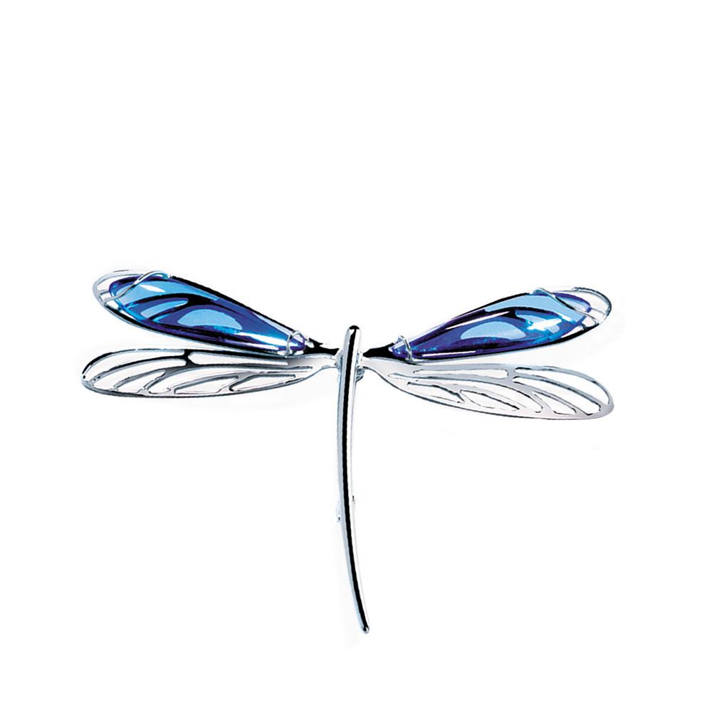 Libellule brooch | Sapphire blue crystal, silver | Costume jewellery Lalique