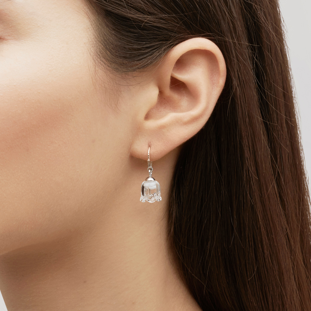 Muguet earrings | Clear crystal, silver | Costume jewellery Lalique