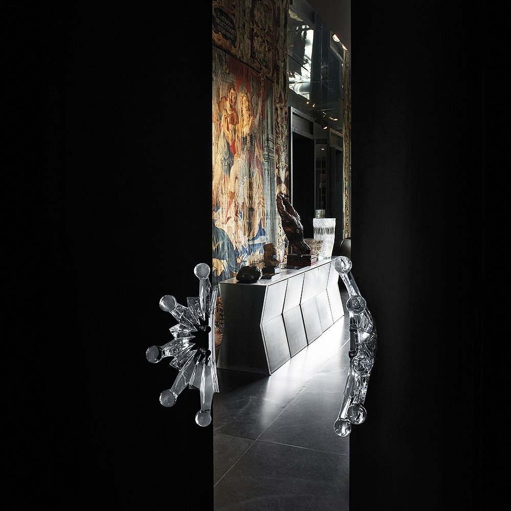 Soleil door handle | Clear crystal, chrome finish | Interior Design Lalique