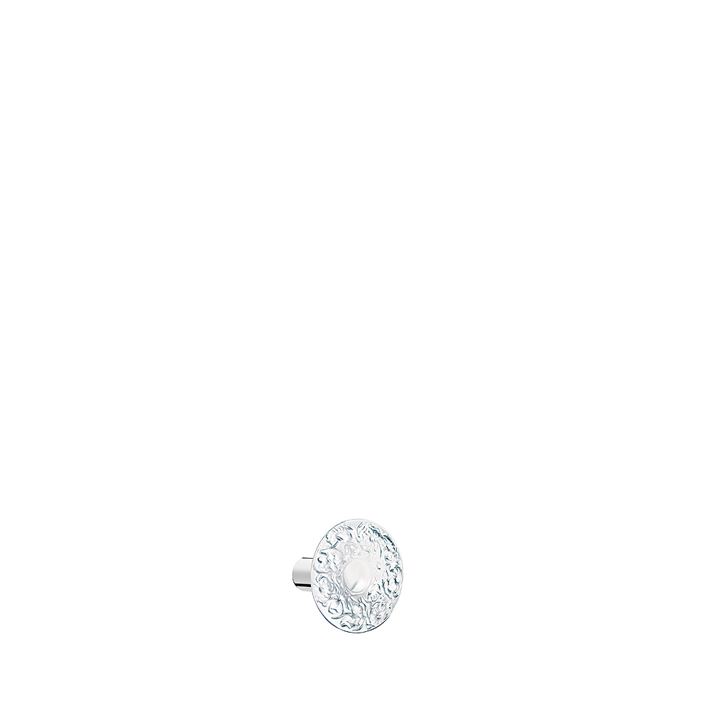 Bucolique knob | Clear crystal, chrome finish | Interior Design Lalique