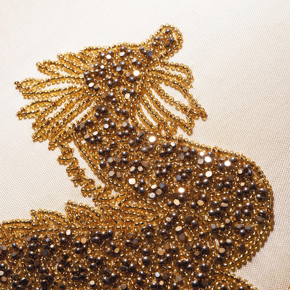 Dragon beaded cushion | Silk, glass beads, small size | Interior Design Lalique