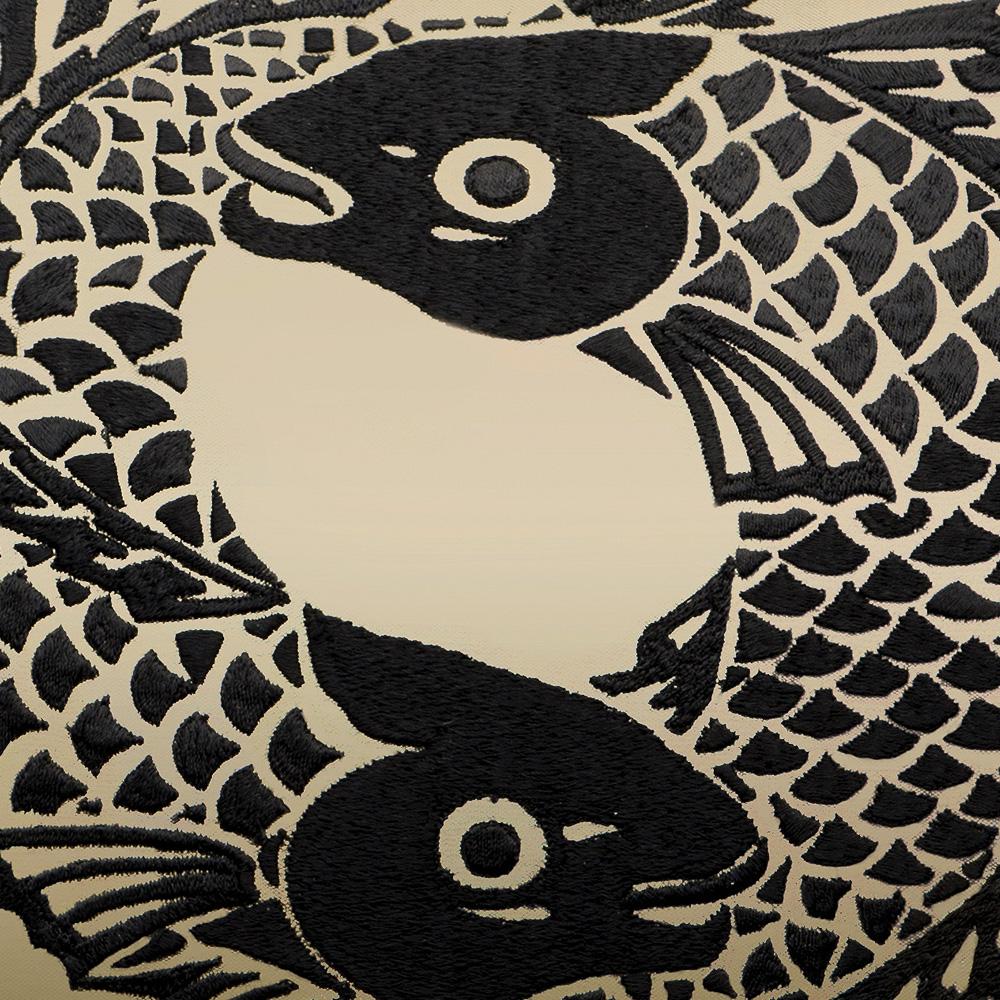 Koi Circle embroidered cushion | Silk, embroidery, medium size square | Interior Design Lalique