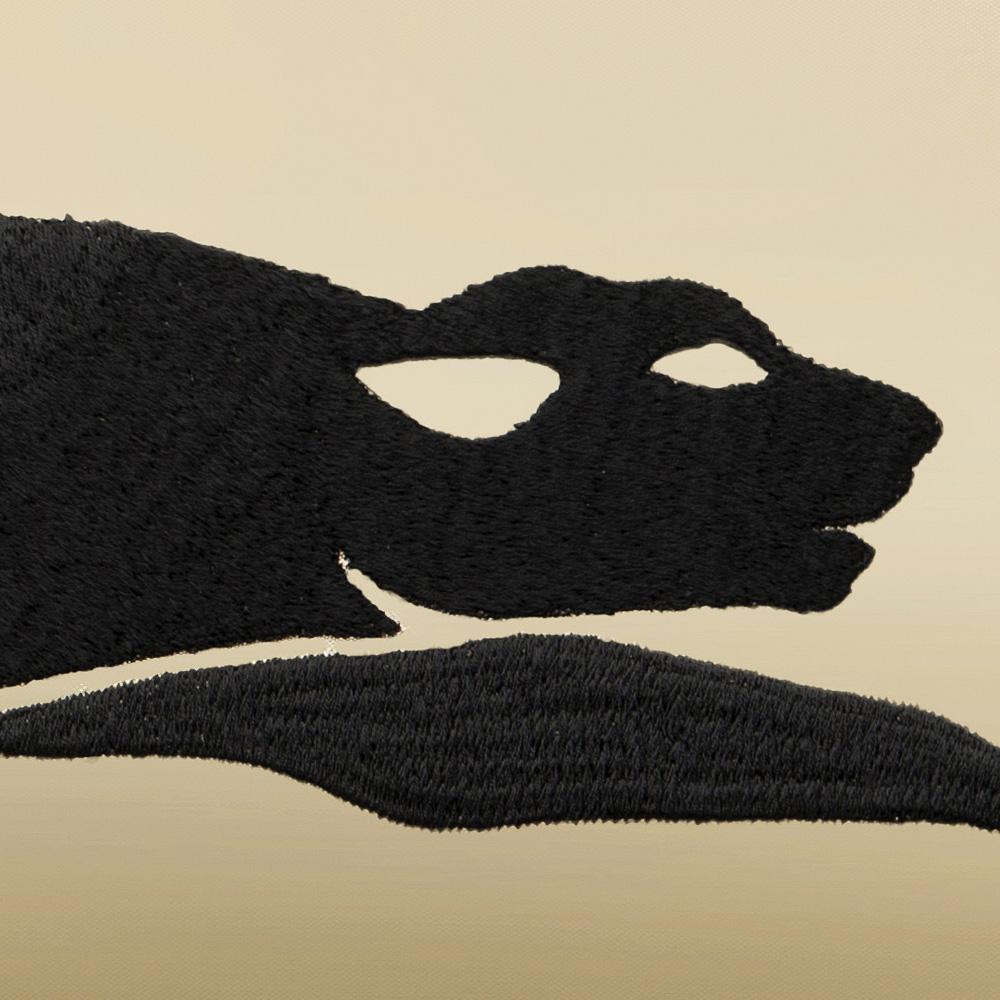 Panthère embroidered cushion | Silk, embroidery, medium size rectangular | Interior Design Lalique