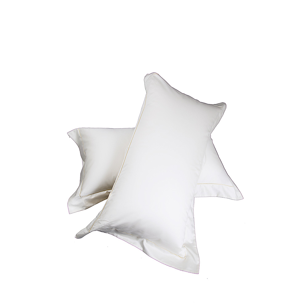 2 Oxford embroidered pillow cases | Ivory cotton, embroidery, 50 x 90 cm | Interior Design Lalique
