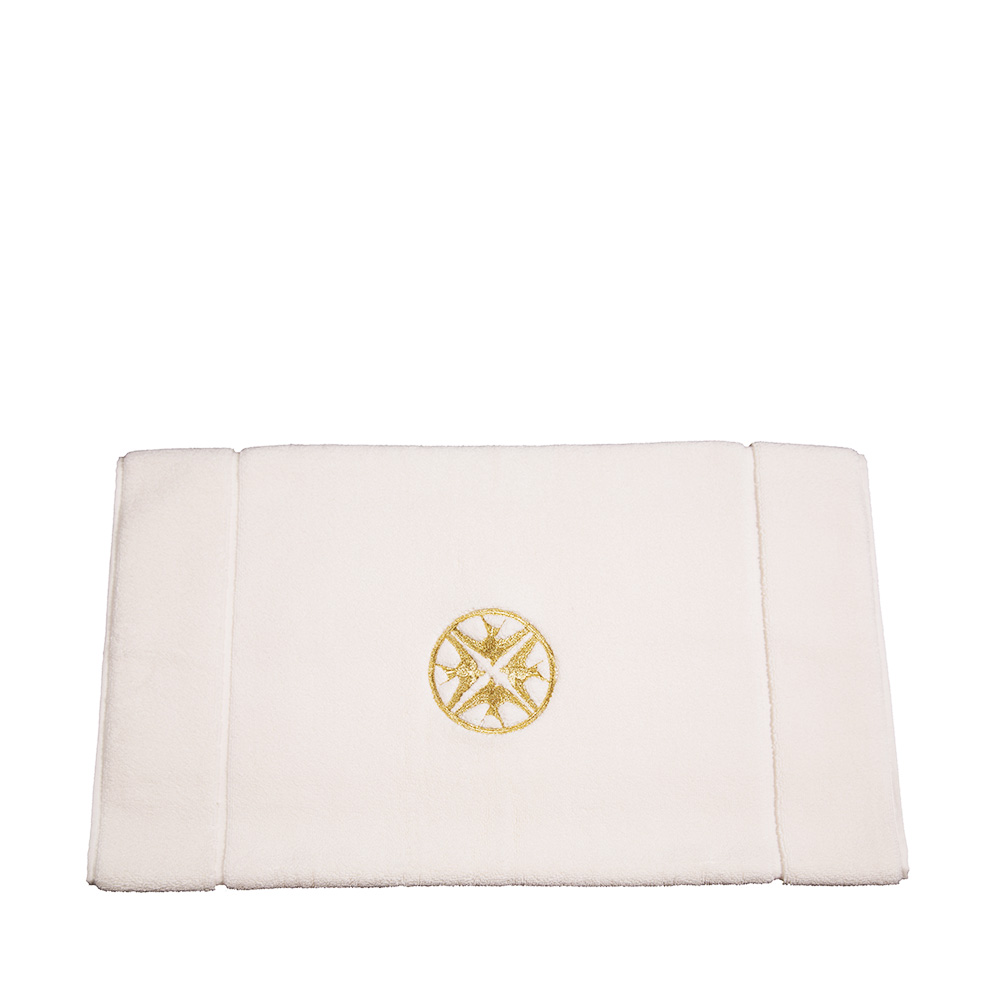 Hirondelles embroidered bath mat | Ivory cotton, embroidery | Interior Design Lalique