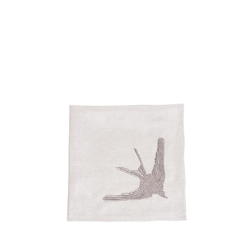 """1 Hirondelle"" embroidered napkin | Metallic linen, pewter embroidery, square | Interior Design Lalique"