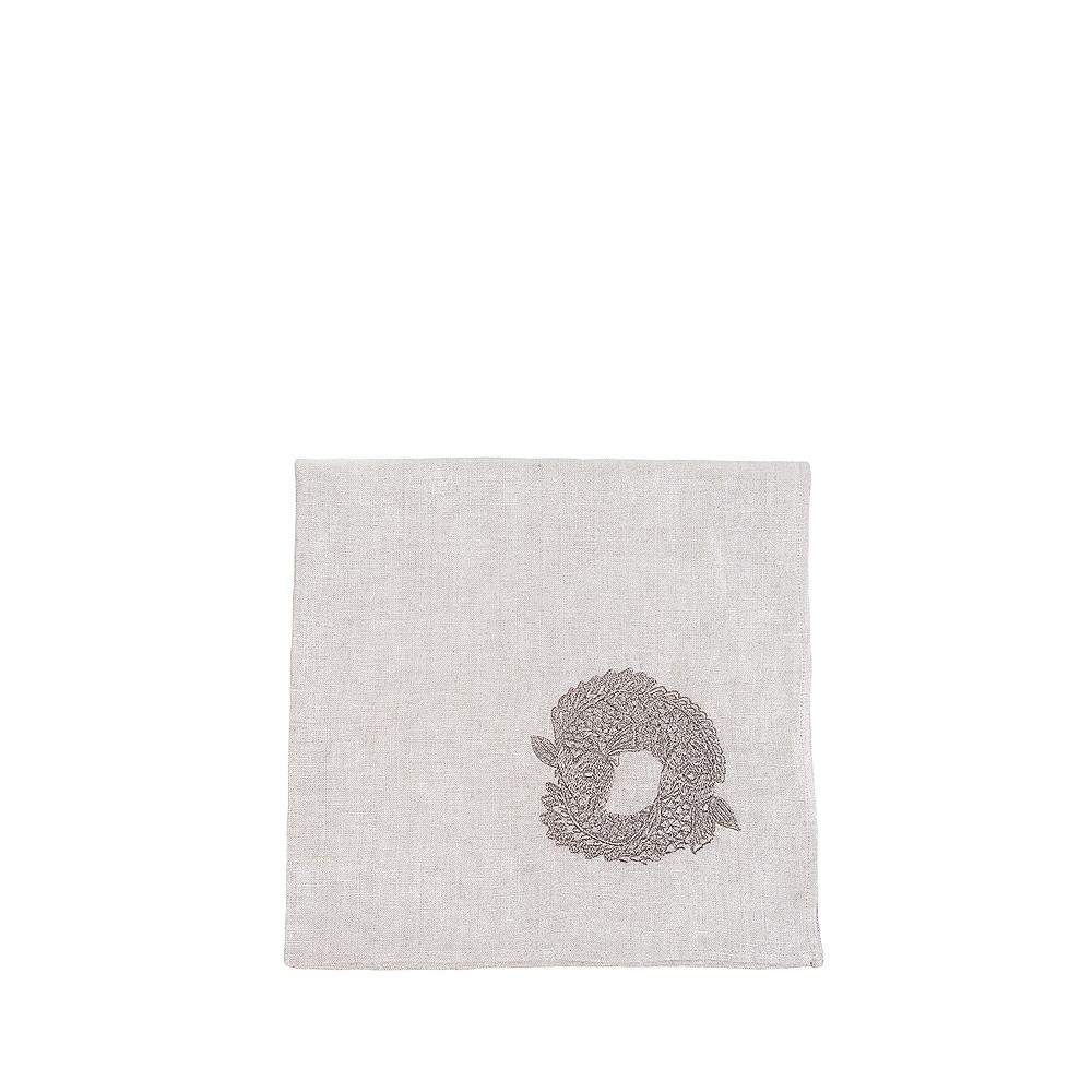 Koi Circle embroidered napkin | Metallic linen, pewter embroidery, square | Interior Design Lalique