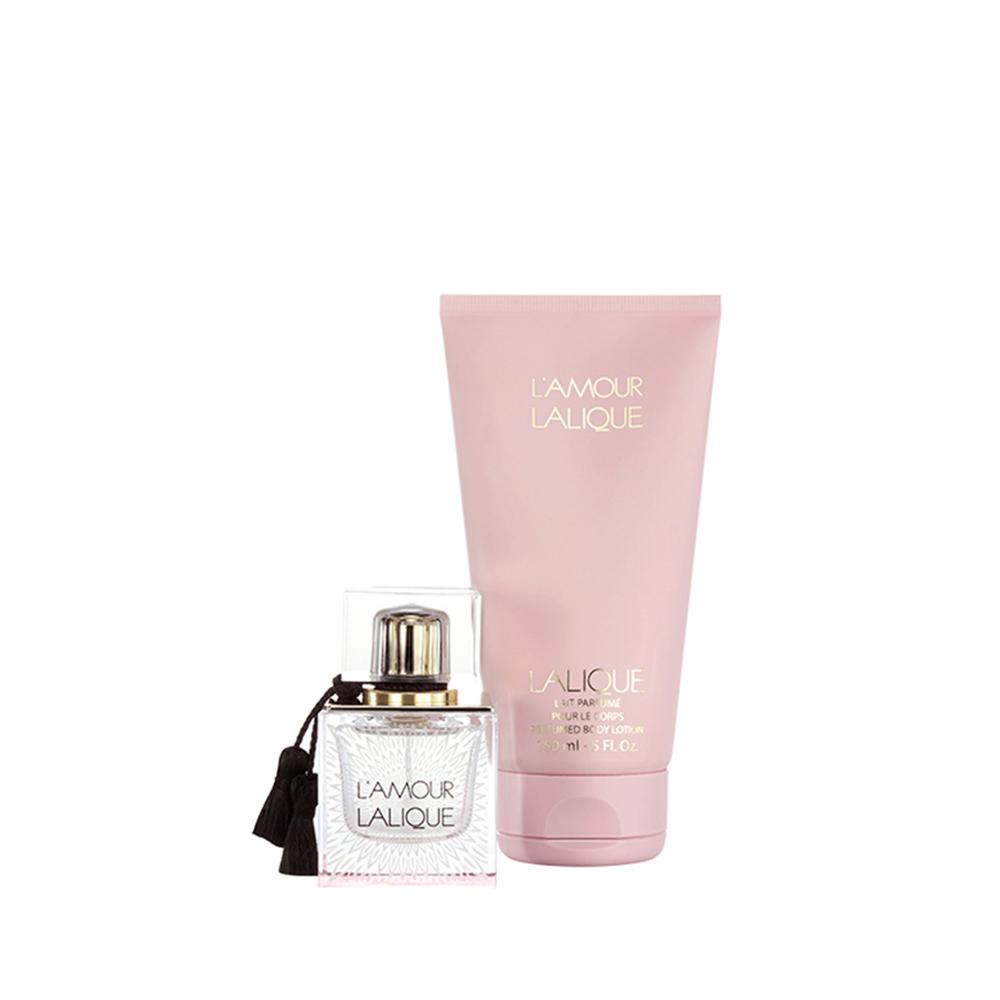 L'AMOUR Gift Set | 50 ml (1.7 Fl. Oz.) Natural Spray Eau de Parfum and 150 ml (5 Fl. Oz.) Perfumed Body Lotion | Lalique Parfums