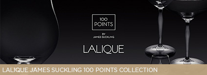 "Lalique James Suckling 100 points collection. ""Beautiful yet functional"" is how internationally acclaimed wine critic James Suckling describes his new 100 POINTS glass and stemware collection, which is a joint creation with France's most esteemed crystal maker, Lalique."