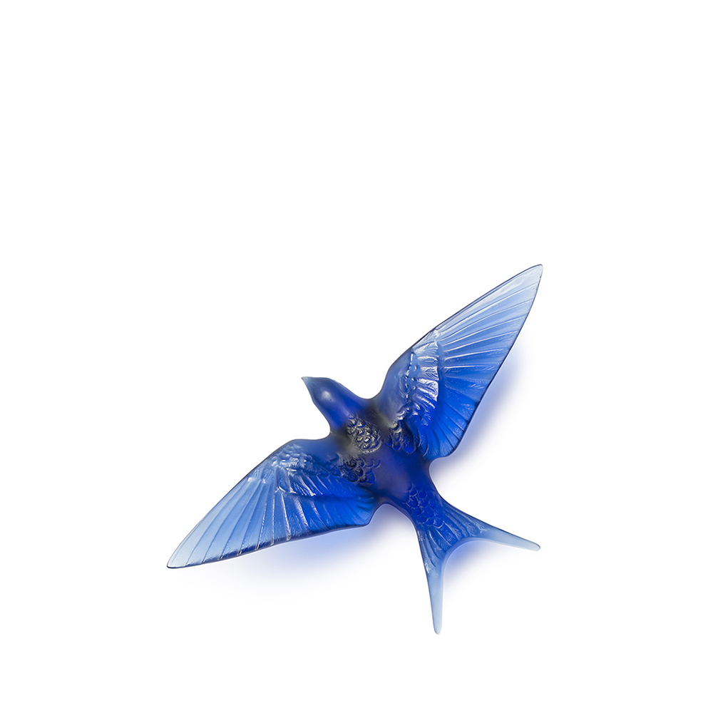 Swallow wings down wall sculpture | Sapphire blue crystal | Sculpture Lalique