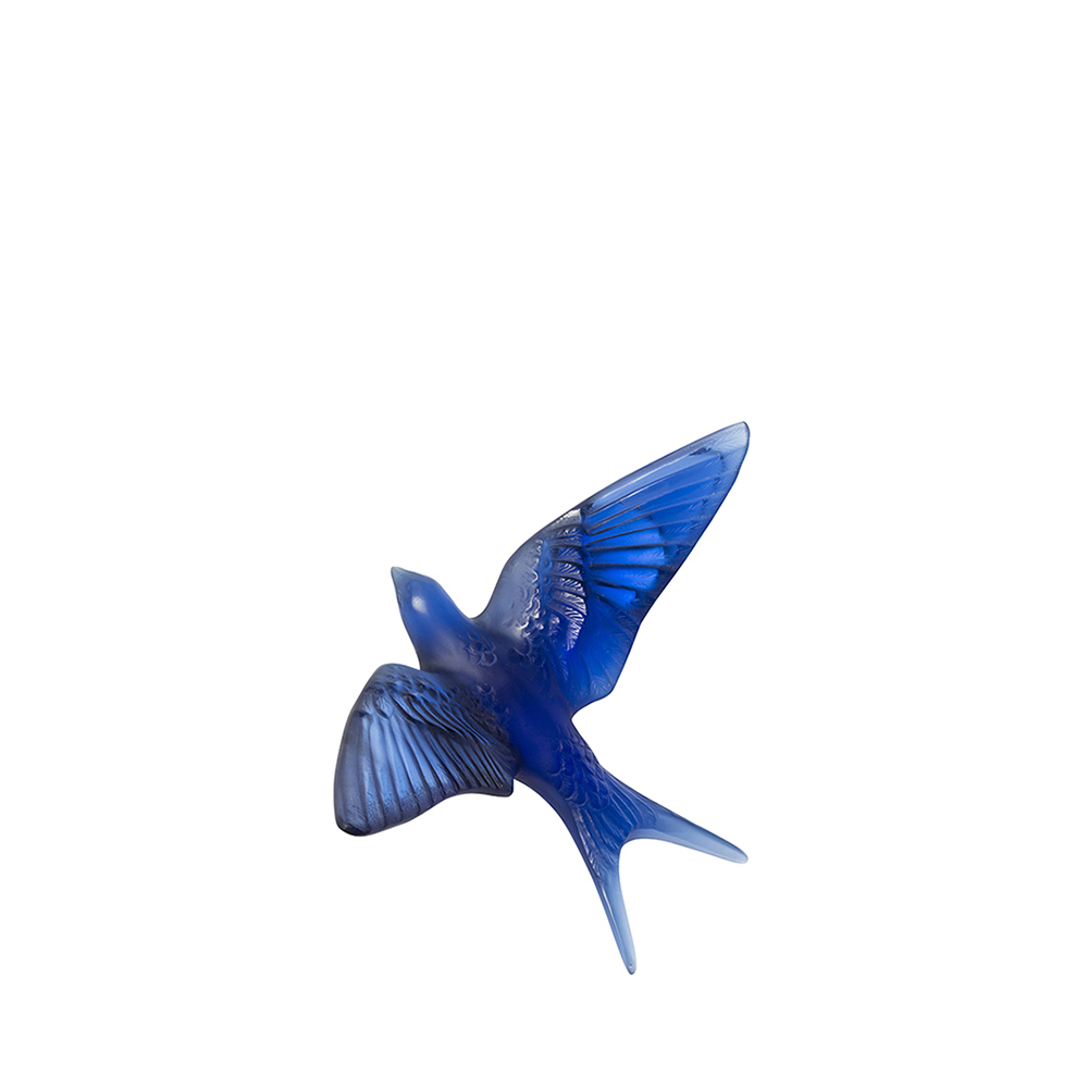 Swallow wall sculpture | Sapphire blue crystal | Sculpture Lalique