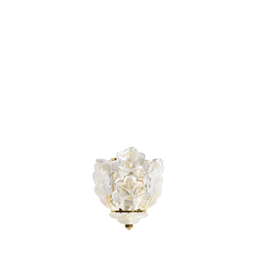Chêne wall sconce | Clear crystal, gilded finish | Interior Design Lalique