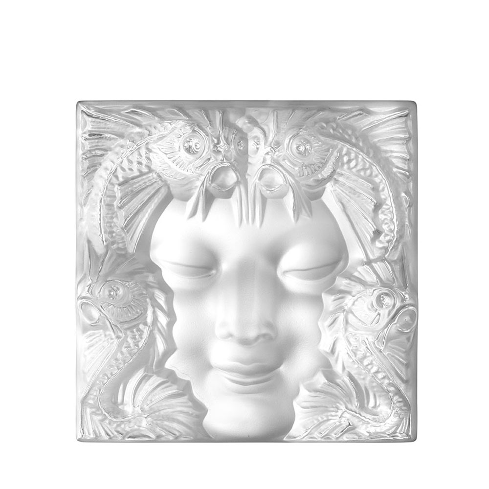 Masque de Femme decorative panel | Clear crystal, square small size | Interior Design Lalique