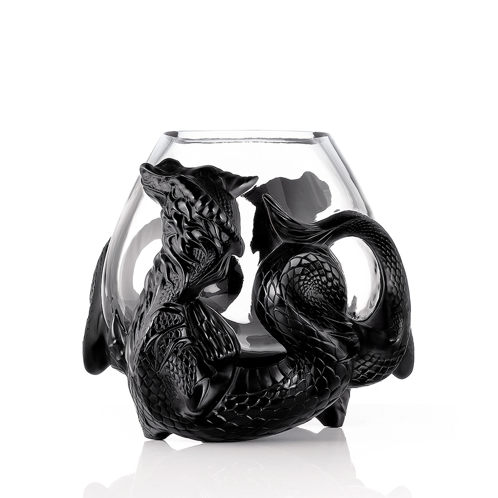 Tianlong vase | Limited edition (88 pieces), black crystal | Vase Lalique