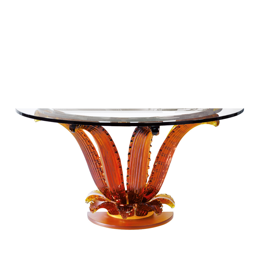 Cactus console table | Half-moon console talbe, amber crystal | Interior Design Lalique